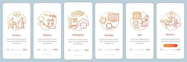 Pflegedienst Onboarding Mobile App Seite Bildschirm vektor