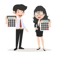 affärsmän och affärskvinnainnehav miniräknare