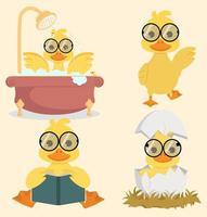 samling av söta tecknade ankor som bär glasögon vektor