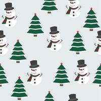 julmönster med snögubbe och julgran vektor