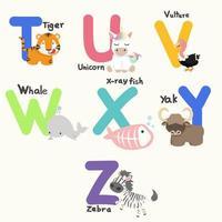 Alphabetbuchstaben von t bis z mit niedlichen Tieren vektor