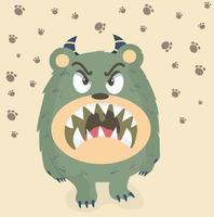 söt arg grön monster vektor