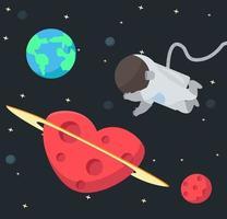Astronaut, der im Weltraumhintergrund schwimmt vektor