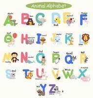 barns alfabet med söta färgglada djur