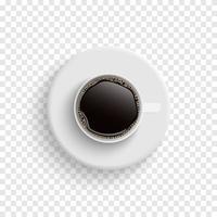 kaffe i vita koppar från toppen vektor