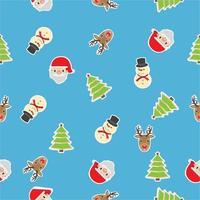 sömlösa mönster av jultomten, snögubbe och julgran vektor