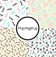 Satz nahtlose Memphis-Stil Hintergrundmuster vektor