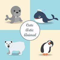 samling av arktiska djur inklusive val, björn och pingvin vektor