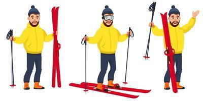 Skifahrer in verschiedenen Posen vektor