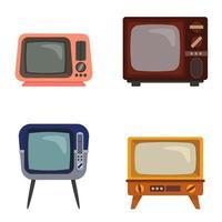uppsättning olika retro-tv-apparater vektor