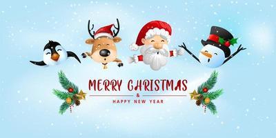 lustige frohe Weihnachtsgrußkarte vektor