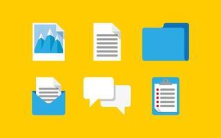 uppsättning datorikoner av e-postmeddelanden och dokument