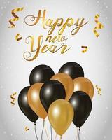 glatt nytt år firande affisch med ballonger