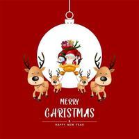 Frohe Weihnachten und ein gutes neues Jahr auf dem Weihnachtsball vektor