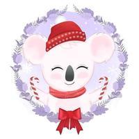 söt liten björn och julkrans vektor