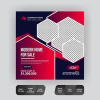 Immobilien Social Media Instagram Post Banner vektor