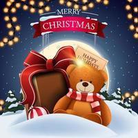 Weihnachtspostkarte mit Winterlandschaft vektor