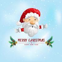 rolig jul gratulationskort av jultomten vektor