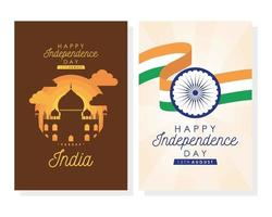 Happy India Independence Day Feier Poster Set