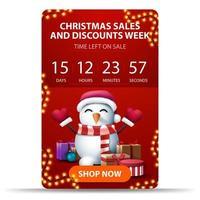 rotes vertikales Weihnachtsbanner mit Countdown-Timer vektor