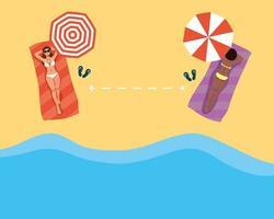 kvinnor som övar social distansering på stranden vektor