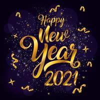 gott nytt år, 2021 gyllene affisch firande