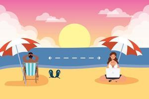 människor som övar socialt avstånd på stranden vektor