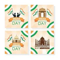 Happy India Independence Day Feier Banner Set vektor