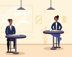 Menschen, die in einem Restaurant mit sozialer Distanz essen vektor