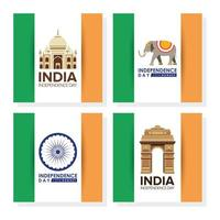 Happy India Independence Day Feier Banner Set
