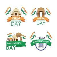 Indien självständighetsdagen firande emblem set vektor