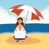 kvinna som använder bärbara datorn på stranden, sommarplats vektor