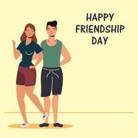 glückliche junge Leute, die für die Feier des Freundschaftstages umarmen vektor