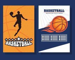 Poster-Set für Basketball- und Sportmeisterschaften vektor