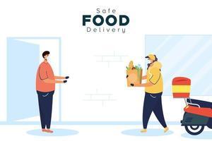 Banner für sichere Lebensmittellieferung mit Arbeiter und Kunde vektor
