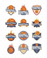 Basketball Meisterschaft Sport Emblem Set vektor