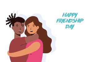 glada unga människor kramar för firande av vänskapsdag vektor