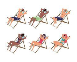 uppsättning människor som solar på stolar vektor