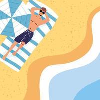 Mann Sonnenbaden am Strand, Sommerszene vektor