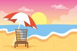 strand och sommarsemester bakgrundsscen vektor