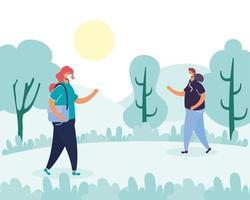 Menschen mit Gesichtsmasken laufen im Park vektor