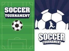 Fußball Fußball Sport Turnier Poster mit Ball gesetzt vektor