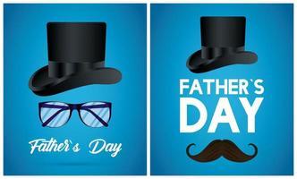 lycklig fäder dag kort med tophat och mustasch vektor