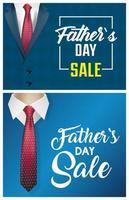 Vatertagsverkaufsbanner mit männlichen Anzügen vektor