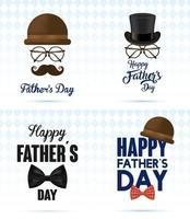 lycklig fars dag banner med gentlemans tillbehör vektor