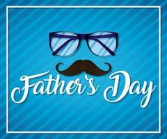 fäder dag kort med glasögon vektor