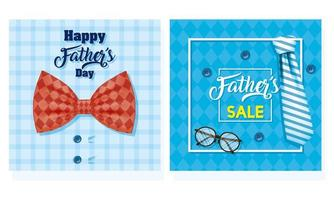 lycklig fars dag banner med manliga tillbehör vektor