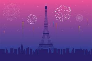 Feuerwerk platzte Explosionen im Pariser Hintergrund vektor