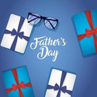 Vatertagsbanner mit Geschenkboxen vektor
