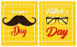 lycklig fars dagkortuppsättning med manliga ikoner vektor